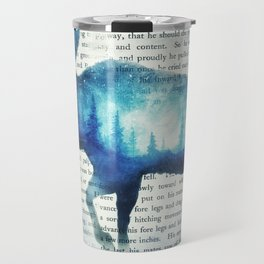 Double Exposure Moose | Night Sky Forest | Trees | Book Page | Vintage Art Travel Mug