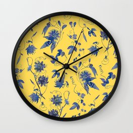 Elegant Blue Passion Flower on Mustard Yellow Wall Clock