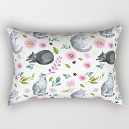 Watercolor Cats and Flowers Pattern Rectangular Pillow