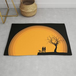 Man Woman Love Couple Dog And Lonely Tree Silhouette Ultra HD Rug
