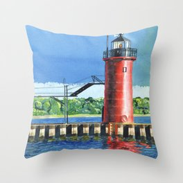 South Haven Lighthouse Throw Pillow