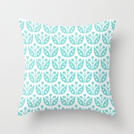 Mid Century Modern Flower Pattern 731 Turquoise Throw Pillow