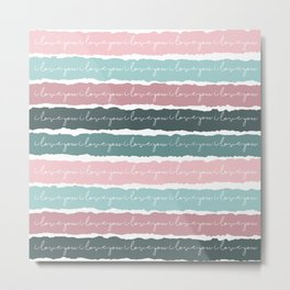 I Love You Cards and Girls Nursery Decor, Pastel Colors Metal Print