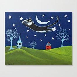 Tuxedo Cat Flying Canvas Print