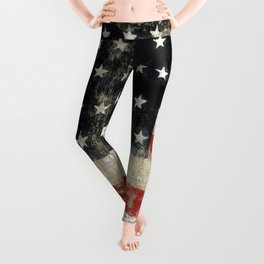USA Flag ~ American Flag ~ Distressed Pattern ~ Ginkelmier Inspired Leggings