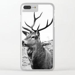 The Stag on the hill - b/w Clear iPhone Case