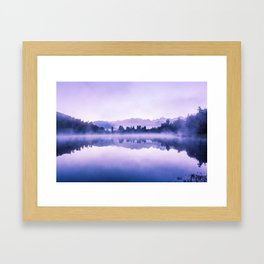 Beautiful reflections of Southern Alps at Lake Matheson on early morning, South Island, New Zealand Framed Art Print