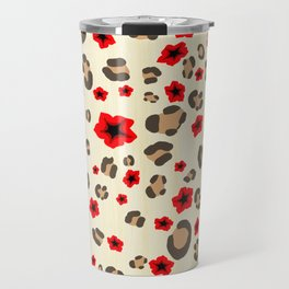 Romantic Leopard Print Pattern with Red Flowers Travel Mug