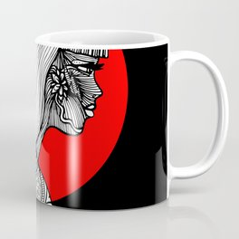 Navajo Girl, Black and White Illustration Coffee Mug