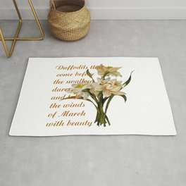 Daffodils That Come Before The Swallow Dares Shakespeare Quote Rug