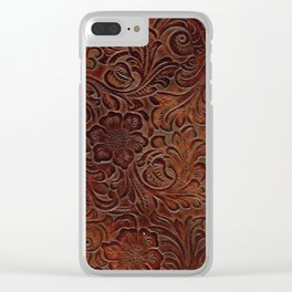 Burnished Rich Brown Tooled Leather Clear iPhone Case