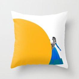 Bardot and the Yellow Circle Throw Pillow