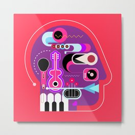 Music Head Metal Print