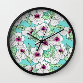 Pink & White Tropical Hibiscus Floral Pattern Wall Clock