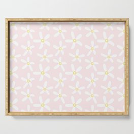 Daisy Pattern on Summer Pink Serving Tray