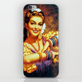 Jesus Helguera Painting of a Mexican Calendar Girl with Bangles iPhone Skin