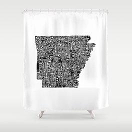 Typographic Arkansas Shower Curtain