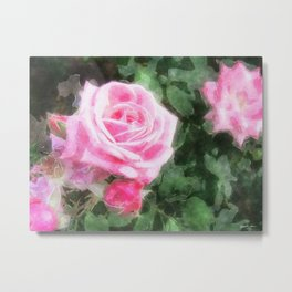 Pink Roses in Anzures 1 Watercolor Metal Print