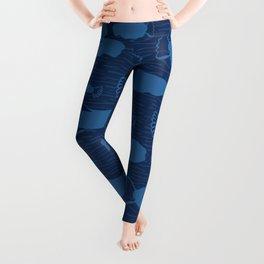 Blue Fish Silhouette, Seamless Seaweed Animal Vector Pattern Background Leggings