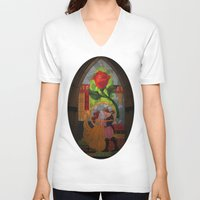 beauty and the beast V-neck T-shirts featuring Beauty and the Beast by Jillian Stanton