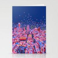 austin Stationery Cards featuring austin texas city skyline by Bekim ART