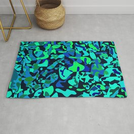 Intersecting delicate on colored spots and splashes of dark blue paints. Rug