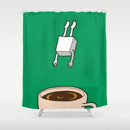 Sugar Jumps Into Coffee Shower Curtain
