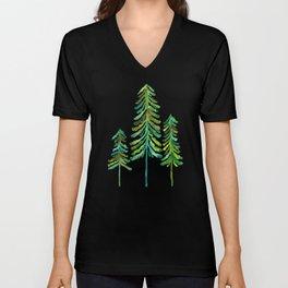 Pine Trees – Green Palette Unisex V-Neck