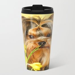 Spring Yellow Crocuses With Yorkie Puppy #decor #society6 Travel Mug