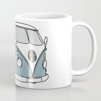 vw Mugs featuring VW Camper by 1and9