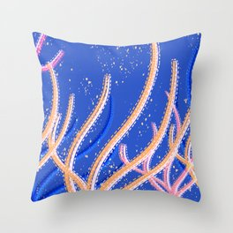 Coral Reef - seaweed in peach Throw Pillow