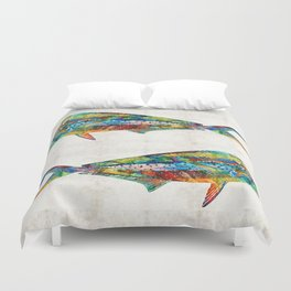 Colorful Dolphin Fish by Sharon Cummings Duvet Cover