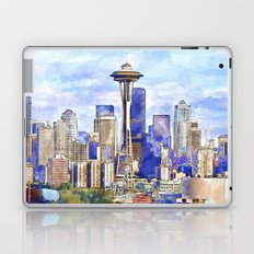 Seattle View in watercolor Laptop & iPad Skin