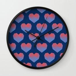 Polygon Heart Seamless Pattern Wall Clock