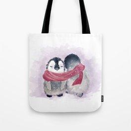 Penguin cuddle Tote Bag