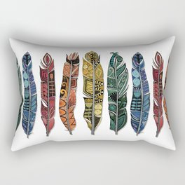 boho rainbow feathers Rectangular Pillow
