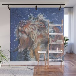 The wirehaired Dachshund dog art portrait from an original painting by L.A.Shepard Wall Mural