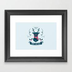 Deer Christmas Framed Art Print