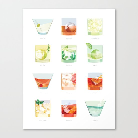Cocktail Hour: Classic Cocktails Poster Canvas Print