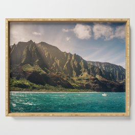 Na Pali Coast Kauai Hawaii Printable Wall Art | Tropical Beach Nature Ocean Coastal Travel Photography Print Serving Tray