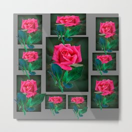 PINK ROSES VIGNETTE PATTERN ART Metal Print