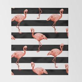Simply Flamingo Deep Coral on Midnight Black Stripes Throw Blanket