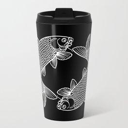 Black White Koi Metal Travel Mug