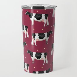 Holsteins // Cranberry Travel Mug