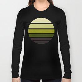 Olive Green Mid Century Modern Minimalist Circle Round Photo Staggered Sunset Geometric Stripe Desig Long Sleeve T-shirt