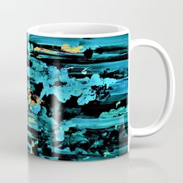 Clouds over Turbulent Waters - Abstract with Rice Paper Coffee Mug