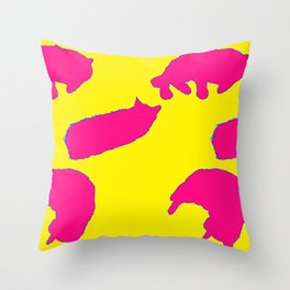 Sleeping cats yellow and pink print Throw Pillow