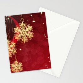 Pretty Christmas Ornaments Red Gold Holiday Decor Stationery Cards