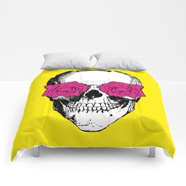 Skull and Roses | Skull and Flowers | Vintage Skull | Yellow and Pink | Comforters