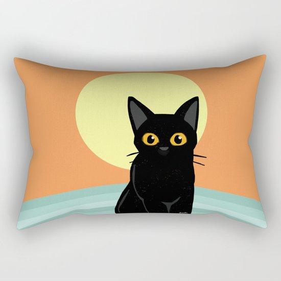 Sunset and cat Rectangular Pillow
